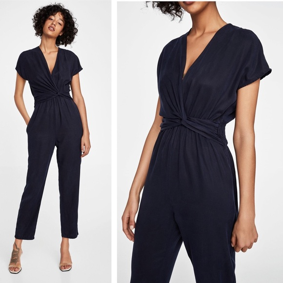 43e8511f4bd6 ZARA - Side Knot Tencel Jumpsuit Navy